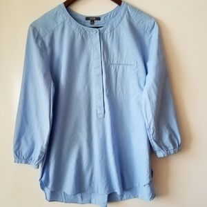 NYDJ Linen Blend Blue Tunic Popover Blouse Small